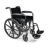 "Everest & Jennings E3010100 Traveler SE Steel Wheelchair 18"" Seat, Fixed Full Arm, Swingaway Footrest, 1 Each, Black, 32"" X 36"" X 12"""