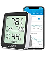 Govee Hygrometer Thermometer, Bluetooth Humidity Meter with APP Alerts and Data Storage, Room Thermometer with Large LCD Display, Max Min Records, Temperature and Humidity Sensor for Room Greenhouse Garage Wine Cellar