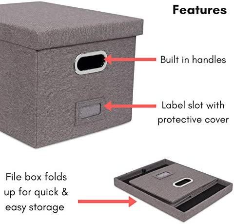 """516COTDaKUL. AC Internet's Best Collapsible File Box Storage Organizer with Lid - Decorative Linen Filing & Storage Office Boxes – Hanging Letter/Legal Folder – Home Office Bins Cabinet – Grey Container - 1 Pack    LINEN FILE ORGANIZER WITH LID: The linen file organizer is the perfect storage box to store all important documents, folders and paperwork while still providing a soft accent to the room/office with its decorative designLETTER or LEGAL FILES: The storage organizer may fit both letter and legal-size files/paperwork fitting your unique filing system.COLLAPSIBLE FILING BOX: The storage container collapses down simply for easier storage when not in usePORTABLE - STACKABLE - VERSATILE: The collapsible storage file bin is equipped with easy access carrying handles and is extremely durable for stacking multiple filing boxes on top of one another. Equipped with a label window for simple organization and may be used for storing toys, closet accessories and other items outside of files.FILE FOLDERS NOT INCLUDED. INCLUDES 1 FILE BOX. DIMENSIONS: Interior Dimensions: 15""""(38.1cm) Width x 12""""(30.5cm) Depth x 10""""(25.4cm) Height; Exterior Dimensions: 16.25"""" Width x 13.25"""" Depth x 10.75"""" Height"""