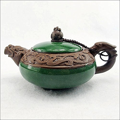 Dragon Teapot - XDOBO China Ceramic Utensil Yixing Purple Clay Teapot Chinese Dragon Pattern Half-handmade Pottery Teapot Chinese Kungfu Teapot Cracked Ice Pattern