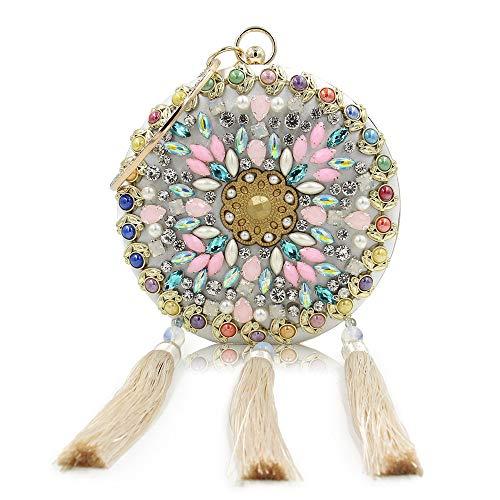 strass Tassel in Borsa Pochette sposa da borsa rilievo donna Perline donna da Glitter con Yzibei sposa da da Blu pratico Colore Rosa azwfX8