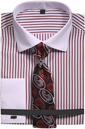 (Sunrise Outlet Men's Slim Fit Stripe Dress Shirt with French Cuffs and Tie - Burgundy 17.5)