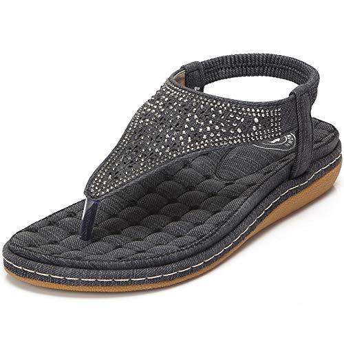 CAMEL CROWN Womens Thong Flat Sandals Summer T-Strap Bohemian Rhinestone Flip Flops Sandal Comfort Walking Slip On Shoes Colour Black Size 9