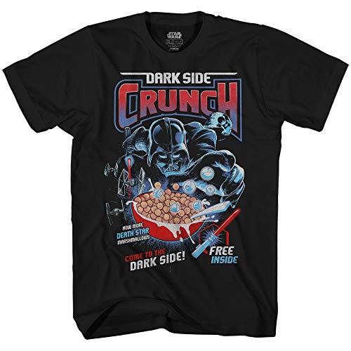 Star Wars Darth Vader Dark Side Crunch Cereal Funny Humor Pun Adult Men's Graphic Tee T-Shirt (Black, Small) ()