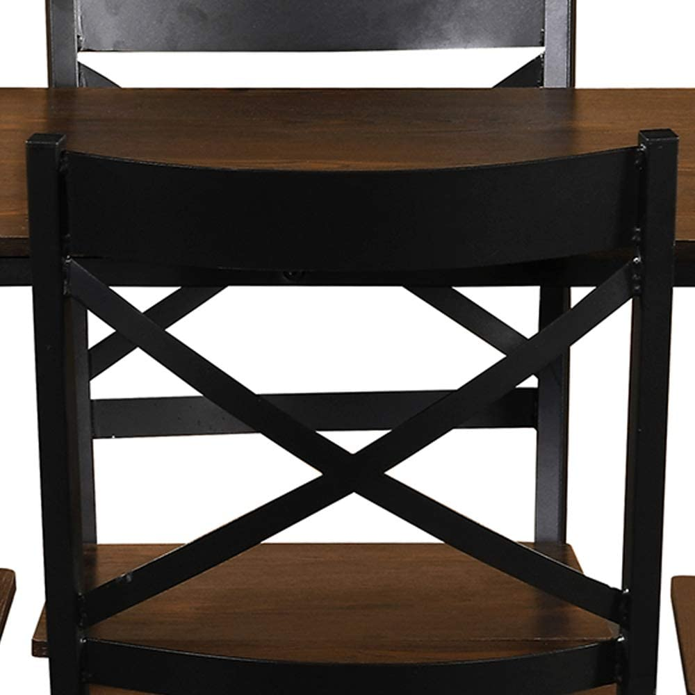 Romatpretty 5 Piece Dining Table Set For Living Room//Kitchen//Any Interior Rectangular Dining Room Table With Vintage Wood Tabletop Kitchen Table 4 Chairs with Metal Frame