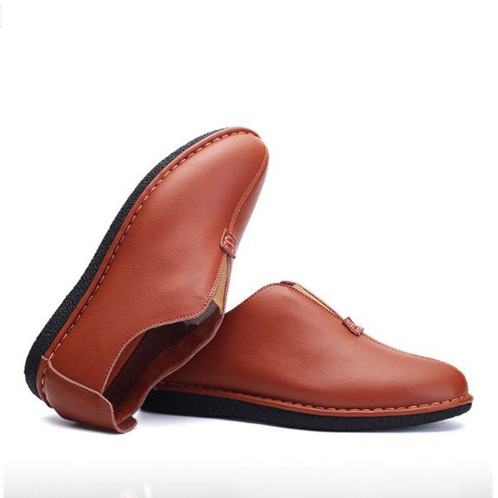 AFCITY Herren Klassische Braun Business Casual Lederschuhe Klassische Herren Slip on Mokassin Walking Flat Laofers Klassischer Stiefelschuh Light Braun 35c105
