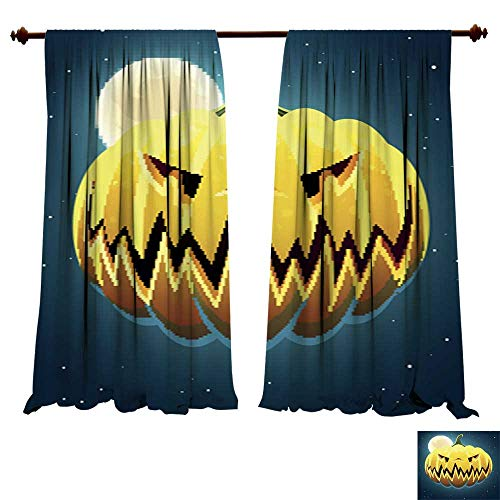 (DragonBuildingMaterials Window Curtains for Bedroom Vector Scary Halloween Pumpkin3 Kitchenware Art)