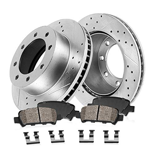 Callahan CDS02450 REAR 330mm D/S 8 Lug [4] Rotors + Ceramic Brake Pads + Hardware [ for Chevy GMC 4X4 4WD 2WD RWD ]