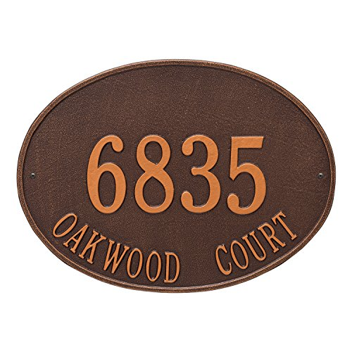Whitehall Products Hawthorne Estate Oval Antique Copper Wall 2-Line Address Plaque - Oval Estate Wall Plaque