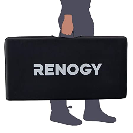 image showing how a person can carry the Renogy 200 Watt Eclipse Monocrystalline Solar Suitcase