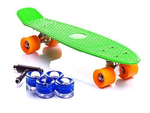 Valero 22″ Cruiserboard Mini Skateboard with 4x Bonus Light-Up LED Wheels SALE!