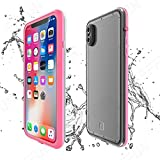EFFUN iPhone X Waterproof Case, IP68 Certified Waterproof Shockproof Dirtproof Snowproof Case Fully Sealed Underwater Protective Cover with Built-in Screen Protector for iPhone X (5.8 inch) Pink