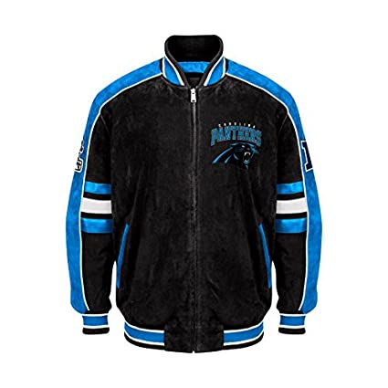 Carolina Panthers Suede Jacket Leather NFL Panthers Coat Apparel asst sizes  (M) ada25b6f7
