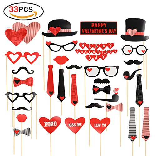 Photo Booth Prop 33Pcs On A Stick Mustache Hats Glasses Lips Ties for Wedding Valentine's Day Party DIY Photo Props Kit