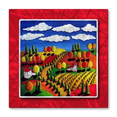 All My Walls Modern Metal Wall Art Sculpture Painting Whimsical Fall Landscape