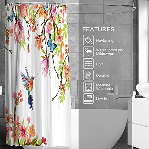 CutebriCase Shower Curtain, Flower Hummingbird Shower Curtain for Bathroom with Hooks, Polyester Fabric Machine Washable Waterproof Large Shower Curtains Sets Decorative Bath Curtain