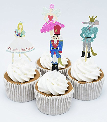 BETOP HOUSE Set of 24 Pieces The Nutcracker and The Mouse King Themed Party Decorative Cupcake Topper for Kids Birthday Party Baby Shower Christmas Party (#1)