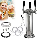 Stainless Steel Triple 3 Tap Faucet Draft Beer Tower Homebrew Bar For Kegerator(3 Faucets)