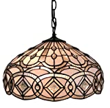 """Amora Lighting Tiffany Style Hanging Pendant Lamp 16"""" Wide Stained Glass White Jeweleds Beads Mahogany Antique Vintage Light Decor Restaurant Game Living Dining Room Kitchen Gift AM295HL16"""
