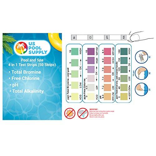 U S Pool Supply 4 Way Swimming Pool Spa Water Test Kit Strips 50 Count Testing Proper