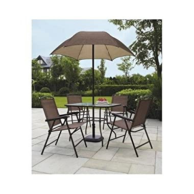 Sand Dune Folding Patio Dining Set & Umbrella Seats 4 Outdoors New