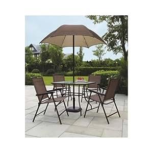 Sand Dune Folding Patio Dining Set Umbrella Seats 4 Outdoors New Garden Outdoor