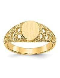 FB Jewels Solid 14K Yellow Gold Signet Ring