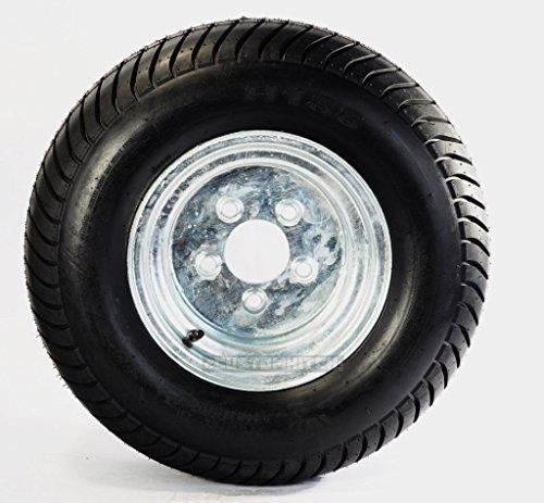 205/65-10 (20.5 X 8.00-10) Bias Ply Pontoon Trailer Tire w/ 10 Galvanized Rim by Tredit