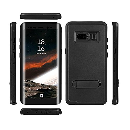 Samsung Galaxy Note 8 Waterproof Case, Shockproof Dustproof Snowproof Full-Body Underwater Protective Box Rugged Cover Kickstand Built in Screen Protector Galaxy Note8 (Black)