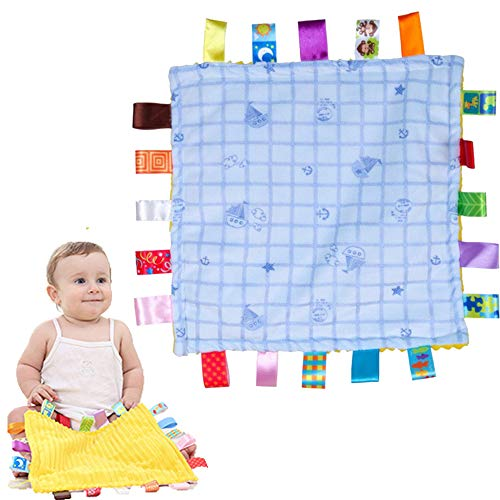 LETTON Baby Comforter Blanket with Tags-Infant Security Blanket Soft Touch Tags Teething Blanket-Great Gift for Baby Infant Toddler(Blue Candy)