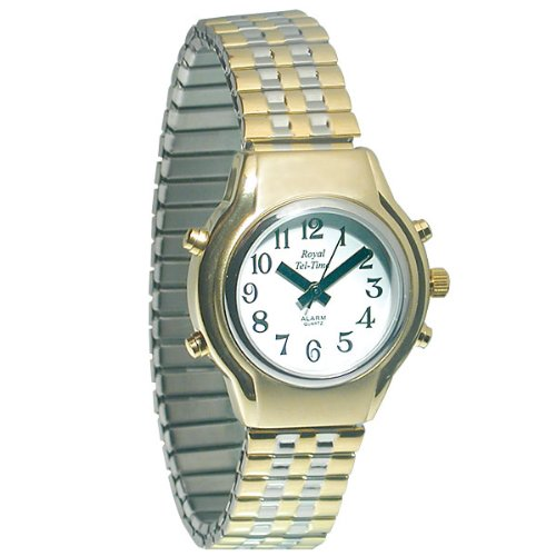 Ladies Royal Tel-Time Talking Watch - White Dial - Expansion Band by Royal Tel-Time