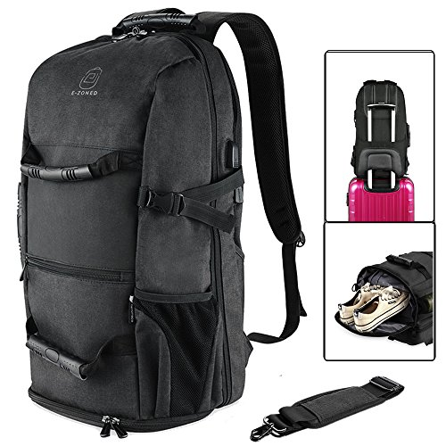Travel Backpack with USB Charging Port for 17.3 Inch Water Resistant Travel Backpack/Bag Laptop Business Travel Duffel Backpack with Shoes Compartment (Black) ()