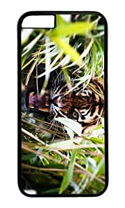 MOKSHOP Adorable angry tiger in bush Hard Case Protective Shell Cell Phone Cover For Apple Iphone 6 Plus (5.5 Inch) - PC Black