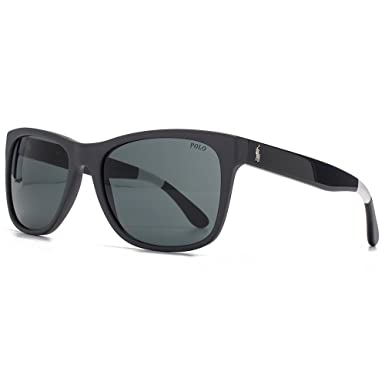 755b63169a03 Polo Ralph Lauren Wayfarer Style Sunglasses in Matte Grey PH4106 557187 57  57 Grey