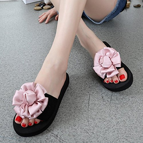 Platform Fheaven Slipper Flower Flip Indoor Sandals Shoes Sandals Women Summer Pink Wedge Flops Low Beach Outdoor qIqawxrSPE