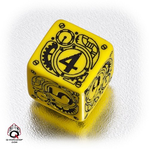 1 (One) Single d6 – Q-Workshop: Carved STEAMPUNK Six Sided Dice / Die (Yellow & Black) by Q Workshop