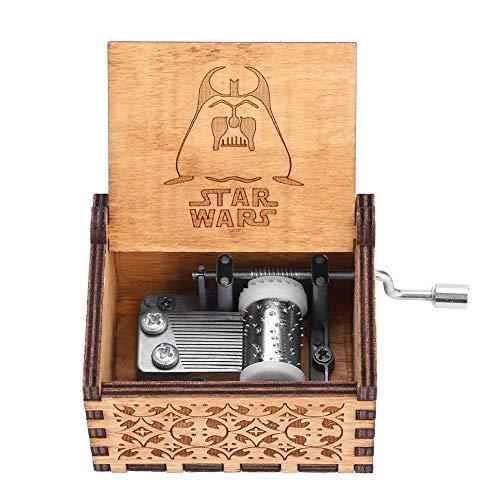 Akozon Music Box, 1pc Wooden Hand Crank Music Box Mechanical Classic Craft Birthday Gift