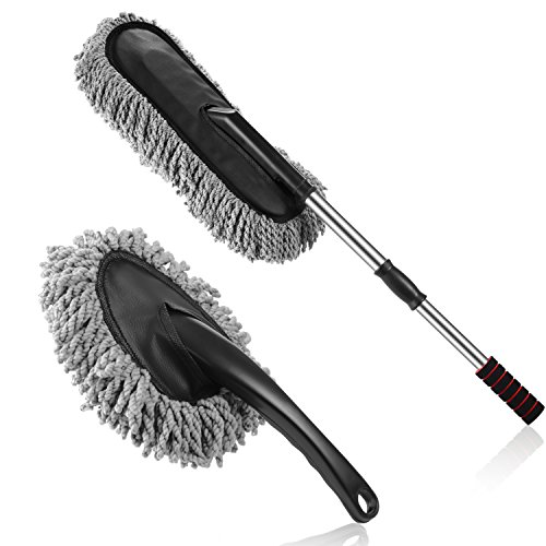 Multipurpose Microfiber Car Duster Brush 2 Pieces Kit with Long Extendable Handle for Car and ()
