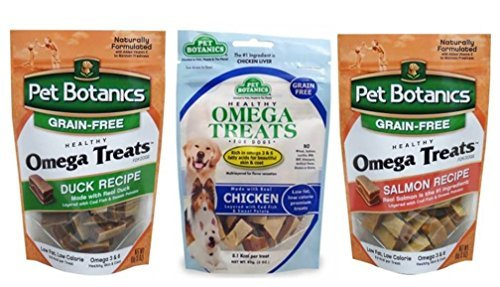 (Pet Botanics Grain Free Omega Treats For Dogs 3 Flavor Variety Bundle: (1) Omega Treats Salmon Recipe, (1) Omega Treats With Real Chicken, and (1) Omega Treats With Real Duck, 3 Oz. Ea. (3 Bags Total))