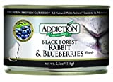 Addiction Black Forest Rabbit and Blueberries Entrée Canned Cat Food 24/5.5oz, My Pet Supplies