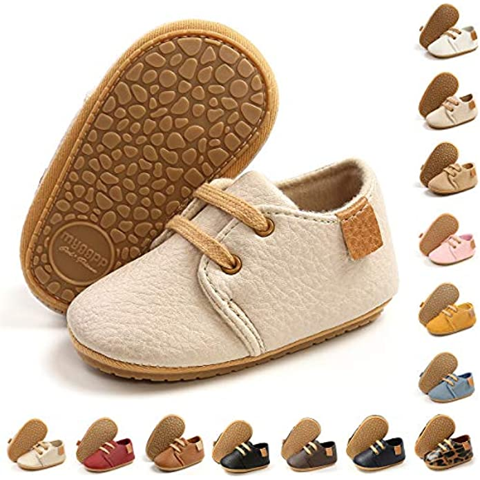 BENHERO Baby Boys Girls Moccasins Oxford Sneakers PU Leather Rubber Sole Infant Loafers Anti-Slip Toddler First Walkers Crib Dress Shoes