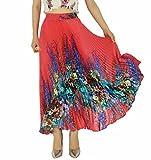 YSJERA Womens Long Maxi Skirt - 35.4'' Floral Sunray Pleated Chiffon Bohemian Chic Full Skirts (One Size, Red)