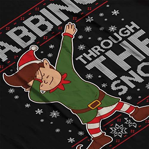 Hooded Snow Through The Elf Pattern Sweatshirt Christmas Women's Dabbing Black Knit 86nxwE