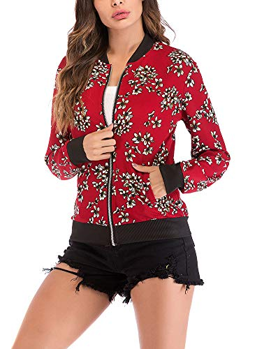 - Women's Floral Bomber Jacket - Cute Front Zip Up Lightweight Jacket XX-Large Red Small Flower