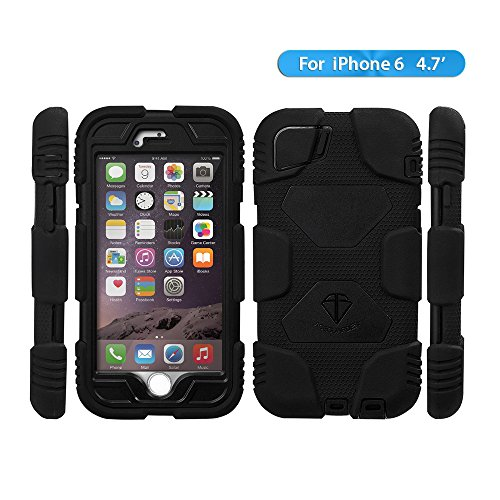 iPhone 6 case,ACEGUARDER Brand snowproof waterproof dirtproof shockproof cover case with Kickstand and Locking Belt Swivel Clip for iPhone 6 4.7-inch (Black/Black)