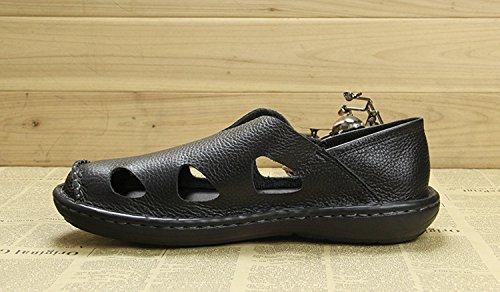 Leather Black Men's Toe Minishion Sandals Walking TQN247 Close Hiking Summer Outdoor 7B7IqxUAw