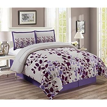 purple grey lavender comforter set fresca vine flocking bed in a bag california. Black Bedroom Furniture Sets. Home Design Ideas