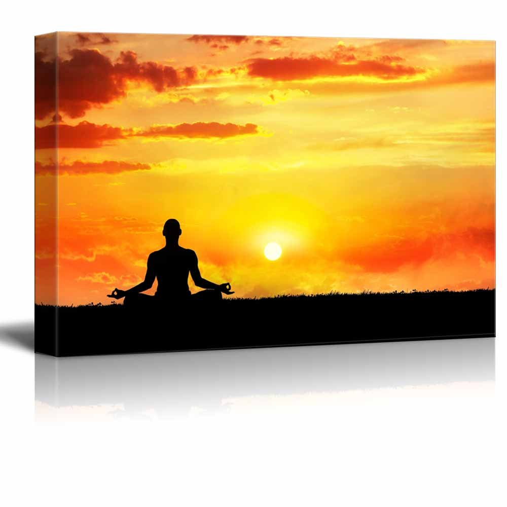 Yoga Meditation in Lotus Pose under Golden Sky at Sunset Wall Decor ...