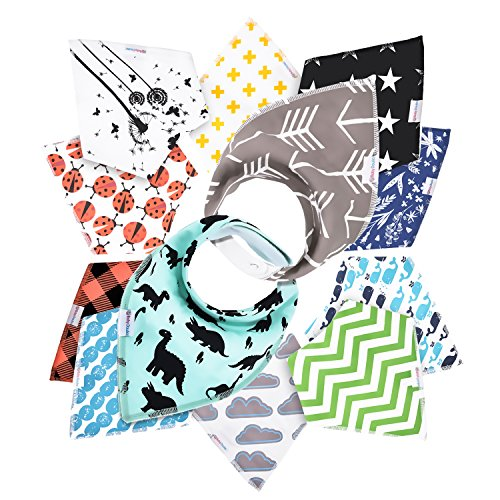 12- Pack Baby Bandana Drool Bibs for Drooling and Teething By Daulia, Unisex super absorbent Organic Cotton, Cute Baby Gift for Boys & Girls, Toddler Baby Shower gift - For Code For Discount Styles Less