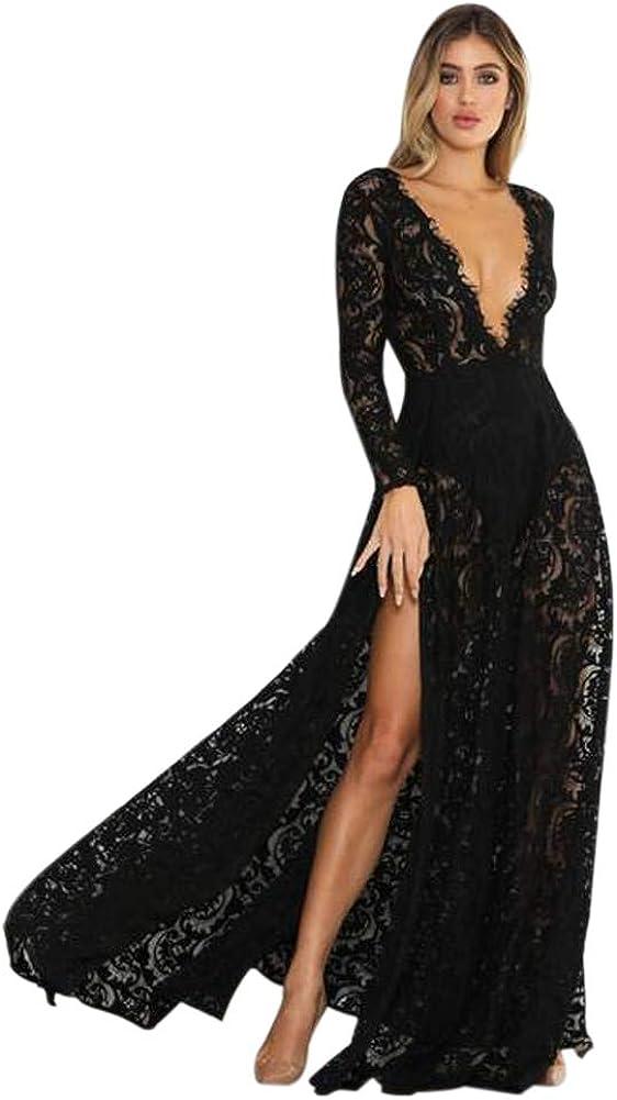 Yangprom Womens High Split Long Maxi Dress Deep V Neck Evening Dress Floral Formal Gown